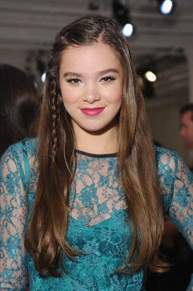Hailee Steinfeld Long Partially Braided [hair,face,hairstyle,long hair,eyebrow,brown hair,blond,beauty,fashion,lip,peter som,hailee steinfeld,front row,new york city,milk studios,mercedes-benz fashion week,fashion show]
