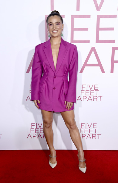 Haley Lu Richardson Evening Pumps [clothing,red carpet,pink,fashion model,magenta,carpet,fashion,suit,flooring,footwear,haley lu richardson,five feet apart,california,los angeles,fox bruin theatre,lionsgate,premiere]