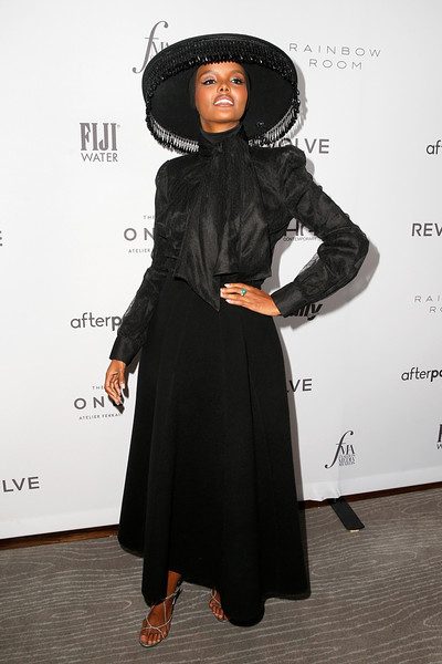 Halima Aden Pussybow Blouse [clothing,dress,fashion,black hair,little black dress,outerwear,formal wear,flooring,carpet,fashion design,halima aden,2019 fashion media awards,new york city,the rainbow room,daily front row,the daily front row]