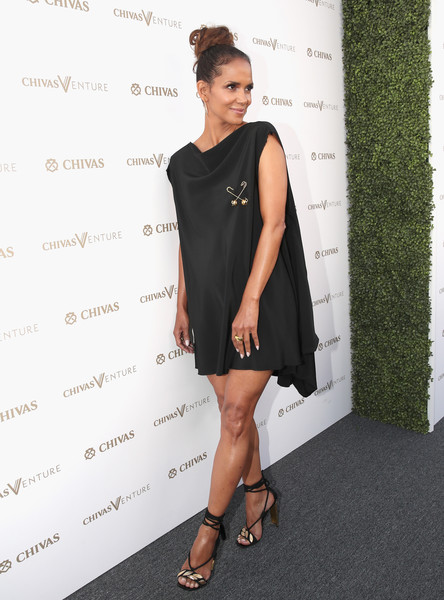 Halle Berry channeled some '60s glamour in a draped LBD by Harold Kensington at the Chivas Venture competition winner announcement.