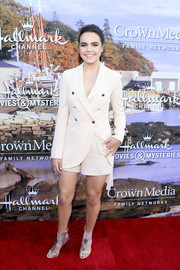 Bailee Madison kept it breezy yet smart in a cream-colored short suit at the Hallmark Channel Summer TCA Press Tour.