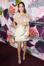 Bailee Madison got frilled up in a ruffled one-shoulder dress by Vitor Zerbinato for the Hallmark Channel Winter TCA Press Tour.
