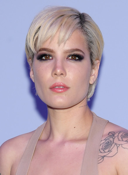 Halsey Short Cut With Bangs [hair,face,hairstyle,blond,chin,eyebrow,shoulder,beauty,head,lip,winter 2018 mens runway show,tom ford fall,new york city,park avenue armory,halsey]