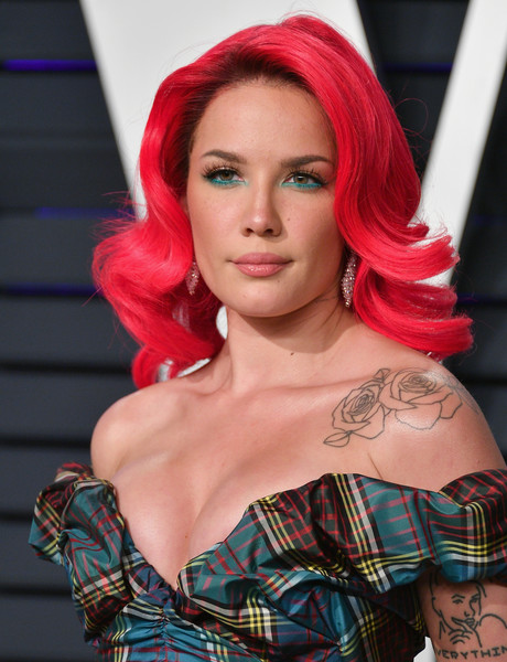 Halsey Medium Curls [hair,face,red,beauty,hair coloring,hairstyle,tartan,pattern,fashion,chin,halsey,radhika jones - arrivals,radhika jones,hair,celebrity,face,hairstyle,wallis annenberg center for the performing arts,oscar party,vanity fair,halsey,wallis annenberg center for the performing arts,radhika jones,oscar party,vanity fair,academy awards,2019 iheartradio music awards,celebrity,2019]