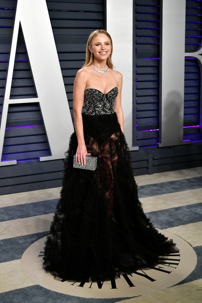 Halston Sage Box Clutch [oscar party,vanity fair,dress,clothing,gown,shoulder,fashion model,strapless dress,fashion,formal wear,haute couture,a-line,beverly hills,california,wallis annenberg center for the performing arts,radhika jones - arrivals,radhika jones,halston sage]