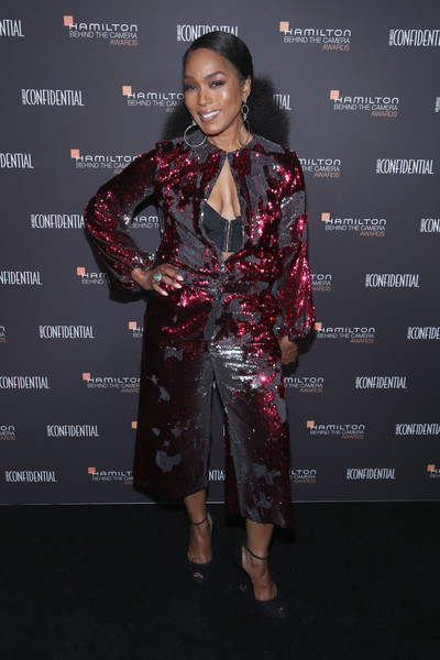 Angela Bassett looked party-ready in a sequined jumpsuit by Greta Constantine at the 2018 Hamilton Behind the Camera Awards.