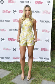 Katrina Bowden was all legs in a Cynthia Rowley jacquard romper during the 'Public Morals' presentation at the Hamptons International Film Festival.