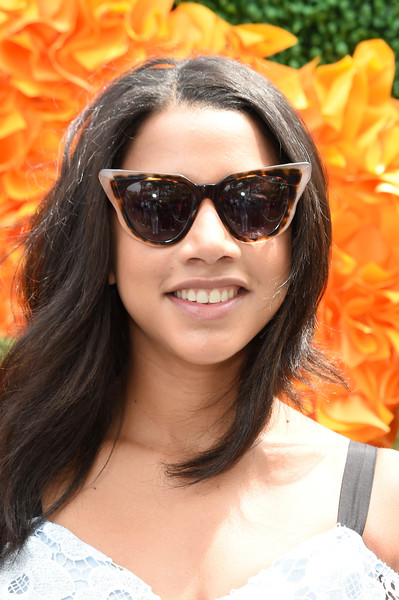 Hannah Bronfman Cateye Sunglasses [eyewear,hair,sunglasses,face,cool,glasses,hairstyle,orange,beauty,chin,arrivals,hannah bronfman,jersey city,new jersey,liberty state park,ninth,veuve clicquot polo classic]