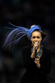 This ultra-fancy blue hat almost stole the limelight from Rebecca Ferguson's singing during the Aviva Premiership.