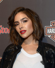 Olivia Culpo styled her hair with edgy waves for the Harley-Davidson celebration of the Black Label Collection.