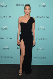 Doutzen Kroes was modern and glam in a structured black one-shoulder gown by Brandon Maxwell at the Harper's Bazaar 150th anniversary party.