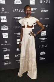 Alek Wek looked like she was seconds away from a wardrobe malfunction when she wore this Calvin Klein cutout gown to the 2018 Harper's Bazaar Icons event.
