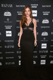 Barbara Palvin flaunted her supermodel figure in a skintight sheer-panel gown by Alexandre Vauthier at the Harper's Bazaar Icons event.