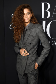 Zendaya Coleman complemented her suit with a pair of wide-band rings for the Harper's Bazaar Icons event.