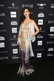 Victoria Justice channeled her inner showgirl in a fringed and embroidered gown by Paolo Sebastian Couture at the 2018 Harper's Bazaar Icons event.
