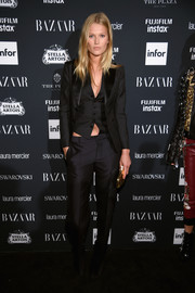 Toni Garrn kept it low-key in a three-piece suit at the Harper's Bazaar Icons event.