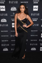 Shay Mitchell looked sultry in this vintage Versace lace-panel slip dress at the Harper's Bazaar Icons event.