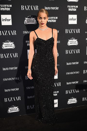 Jasmine Sanders sparkled in a beaded black gown at the Harper's Bazaar Icons event.