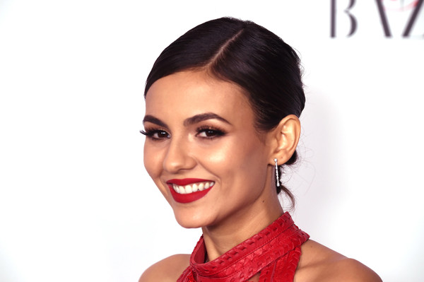 Victoria Justice pulled her hair back into a tight, knotted chignon for the Harper's Bazaar 150 Most Fashionable Women celebration.