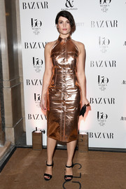 Gemma Arterton looked downright fab in a sleeveless copper shirtdress by Ralph & Russo at the Harper's Bazaar Women of the Year Awards.