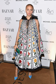 Adwoa Aboah looked exuberant in a tiled floral tent dress by Mary Katrantzou at the 2018 Harper's Bazaar Women of the Year Awards.