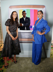 Tracee Ellis Ross looked cool in a belted electric-blue pantsuit by House of Holland at the Excellence in Television Costume Design celebration.