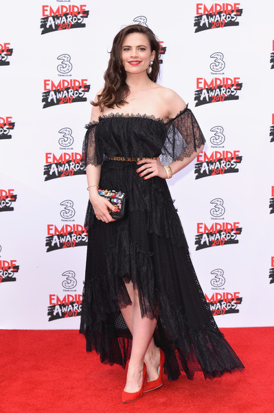 Hayley Atwell Off-the-Shoulder Dress [clothing,dress,shoulder,red carpet,carpet,strapless dress,premiere,flooring,hairstyle,joint,red carpet arrivals,hayley atwell,empire awards,awards,the roundhouse,london,england,three empire]