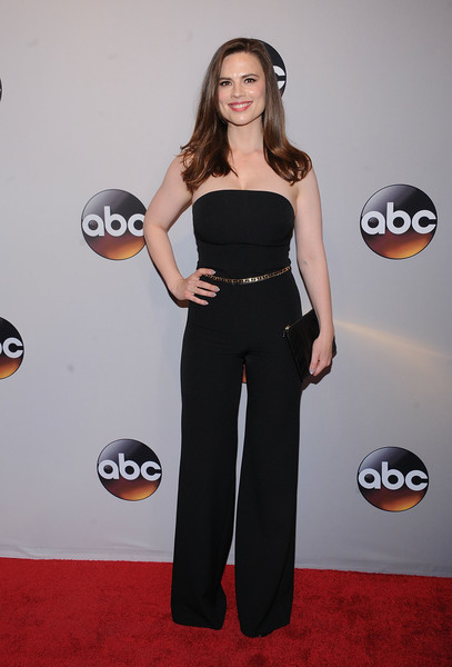 Hayley Atwell Jumpsuit [abc,clothing,red carpet,carpet,shoulder,joint,waist,dress,flooring,ball,premiere,david geffen hall,new york city,hayley atwell]