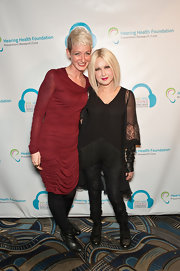 Rocker Cyndi Lauper was gothic-chic in black skinny pants at charity event in NYC.