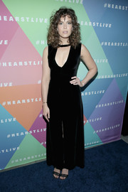 Mandy Moore rocked a cleavage-baring velvet maxi dress by A.L.C. at the launch of HearstLive.
