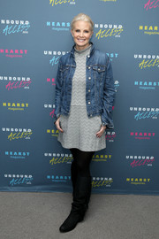Monica Potter teamed a denim jacket with a zigzag-patterned mini dress for Hearst Magazines' MagFront event.