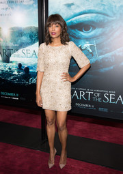 Aisha Tyler attended the New York premiere of 'In the Heart of the Sea' wearing a super-short beaded champagne dress.