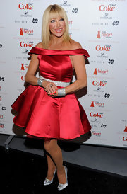 Suzanne Somers paired her flirty red cocktail dress with silver satin pumps with crystal-adorned buckles.