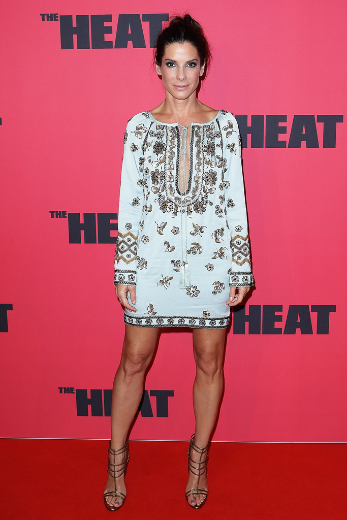 Sandra Bullock Goes Boho in a Beaded Tunic Dress