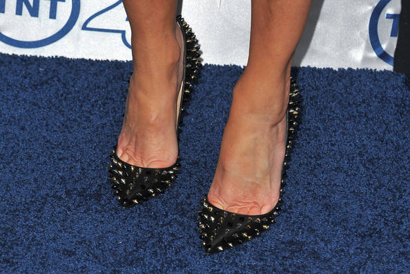 Heather Locklear Studded Heels [footwear,human leg,leg,foot,ankle,toe,shoe,joint,nail,high heels,anniversary party - arrivals,heather locklear,shoe detail,beverly hills,california,the beverly hilton hotel,tnt,25th anniversary party]