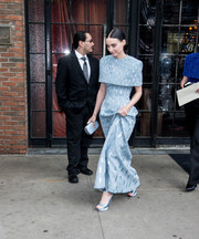 Rooney Mara teetered on a pair of pastel-blue platform sandals while headed to the 2018 Met Gala.