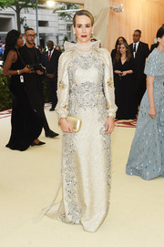 Sarah Paulson looked lavish in a heavily embellished column dress by Prada at the 2018 Met Gala.