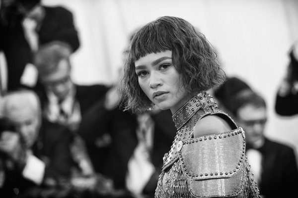 More Pics of Zendaya Coleman Short Wavy Cut (1 of 15) - Short Hairstyles Lookbook - StyleBistro [image,photograph,white,black,black-and-white,people,monochrome,monochrome photography,hairstyle,snapshot,fashion,zendaya,metropolitan museum of art,new york city,heavenly bodies: fashion the catholic imagination costume institute gala - arrivals]