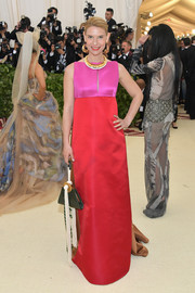 Claire Danes polished off her look with a triangular purse, also by Marni.