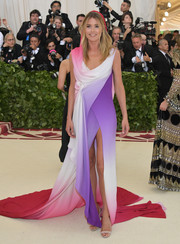 Doutzen Kroes donned a multicolored Sies Marjan gown with a draped neckline and a fishtail hem for the 2018 Met Gala.