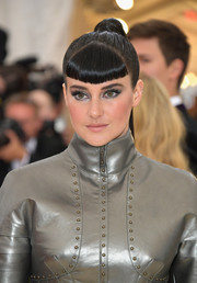 Shailene Woodley looked futuristic wearing this ponytail with baby bangs at the 2018 Met Gala.