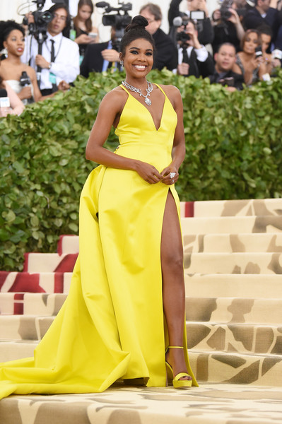More Pics of Gabrielle Union Evening Dress (3 of 9) - Dresses & Skirts Lookbook - StyleBistro [fashion model,dress,clothing,yellow,fashion,shoulder,gown,haute couture,red carpet,beauty,heavenly bodies: fashion the catholic imagination costume institute gala - arrivals,new york city,metropolitan museum of art,gabrielle union]