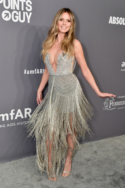 Heidi Klum Fringed Dress [dress,clothing,shoulder,fashion,long hair,hairstyle,beauty,premiere,joint,cocktail dress,arrivals,heidi klum,new york city,cipriani wall street,amfar new york]