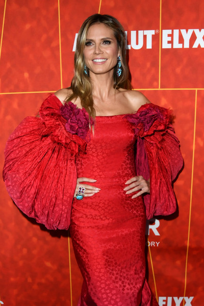 Heidi Klum Gemstone Ring [clothing,red,red carpet,shoulder,fashion,carpet,fashion design,flooring,long hair,dress,arrivals,heidi klum,amfar gala,los angeles,wallis annenberg center for the performing arts,beverly hills,california,amfar]