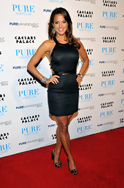 Eva la Rue wore buckled leopard-print peep-toes with her LBD for that extra oomph.