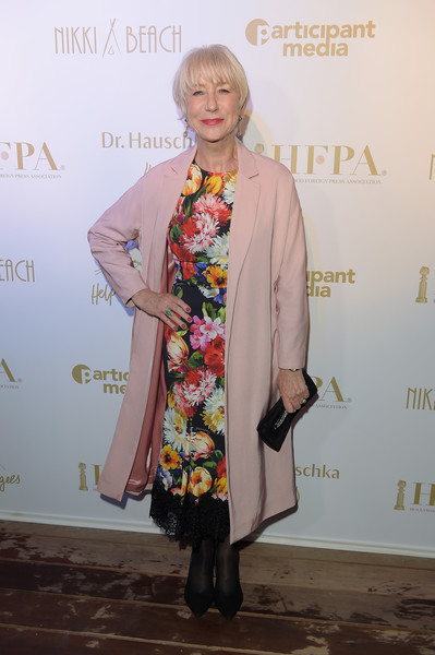 Helen Mirren Print Dress [clothing,fashion,yellow,fashion design,outerwear,carpet,flooring,dress,event,street fashion,participant media honour hep refugees arrivals,participant media honour hep refugees,helen mirren,cannes,france,hfpa,annual cannes film festival]