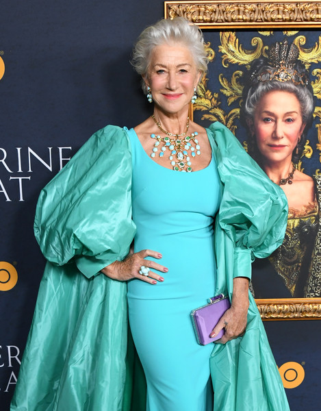 Helen Mirren Gemstone Ring [catherine the great,helen mirren,los angeles premiere of the new hbo limited series,clothing,lady,hairstyle,turquoise,dress,fashion,premiere,carpet,red carpet,fashion design,hammer museum,los angeles,california,the billy wilder theater]