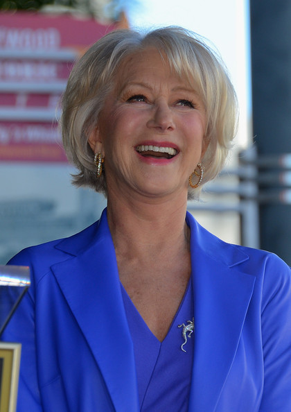 Helen Mirren Bob [helen mirren,star,helen mirren honored on the hollywood walk of fame,the hollywood walk of fame,electric blue,blond,smile,official,hollywood,california]