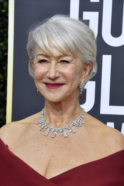 Helen Mirren Messy Cut [hair,face,hairstyle,blond,eyebrow,chin,beauty,skin,lip,shoulder,arrivals,helen mirren,hair,hairstyle,face,eyebrow,beauty,skin,the beverly hilton hotel,golden globe awards]