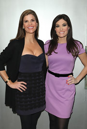 Kimberly Guilfoyle chose a simple sheath in a lovely lavender hue for the Helen Yarmak fashion show.